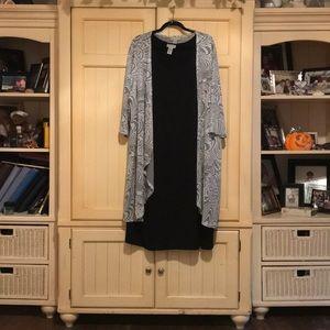 Beautiful black dress with gray jacket